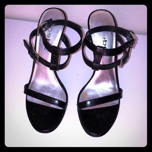 Bebe stilettos with double straps